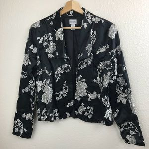 Chico's Silk Floral open faced black blazer